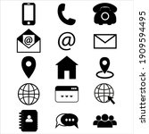 contact us icons. simple vector ... | Shutterstock .eps vector #1909594495