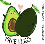 typography hand drawn avocado...   Shutterstock .eps vector #1909617838