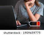young tired woman working on... | Shutterstock . vector #1909659775