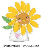 hand sketched sunflower cute... | Shutterstock .eps vector #1909663255