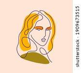portrait of a woman in line art ...   Shutterstock .eps vector #1909673515