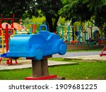 Plastic Rocking Car In A Public ...