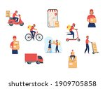 group of eight delivery workers ...   Shutterstock .eps vector #1909705858