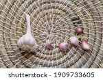Closeup Of Dry Garlic Bulb With ...