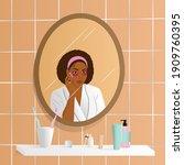 young afroamerican woman do her ... | Shutterstock .eps vector #1909760395