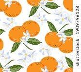tangerines  seamless background ... | Shutterstock .eps vector #1909796128