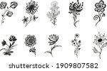 10 hand drawn blossom...   Shutterstock .eps vector #1909807582