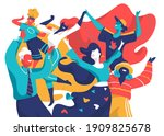 a group of smiling happy... | Shutterstock .eps vector #1909825678