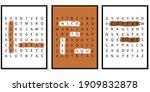 three posters. crossword puzzle ... | Shutterstock .eps vector #1909832878