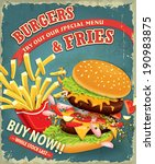 vintage burgers with fries set... | Shutterstock .eps vector #190983875