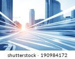 the light trails on the modern... | Shutterstock . vector #190984172
