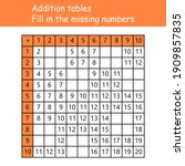 addition tables. fill in the... | Shutterstock .eps vector #1909857835