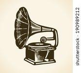 old retro gramophone   Shutterstock .eps vector #190989212