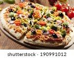 pizza vegetarian on plate | Shutterstock . vector #190991012