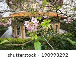 Cherry blossom with Traditional Chinese Temple, New Taipei - stock photo