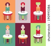 cafe  six women at a table with ...   Shutterstock .eps vector #190995386