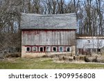 Old Worn Weathered Barn With...