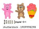 Plasticine brown bear give pink ...