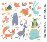 vector set of cute wild animals ... | Shutterstock .eps vector #191005016