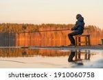evening fishing. little boy...   Shutterstock . vector #1910060758