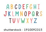 colorful latin letters of... | Shutterstock .eps vector #1910092315
