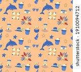 seamless summer pattern vector... | Shutterstock .eps vector #1910094712