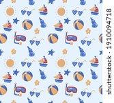 seamless summer pattern vector... | Shutterstock .eps vector #1910094718