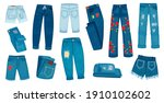denim jean pants. trendy... | Shutterstock . vector #1910102602
