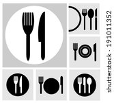 icon fork and spoon | Shutterstock .eps vector #191011352