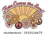 retro groovy here comes the sun ...   Shutterstock .eps vector #1910116675