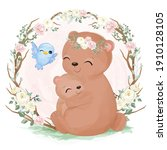 cute mommy and baby bear... | Shutterstock .eps vector #1910128105
