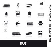 Bus Transport Icons Set Eps10