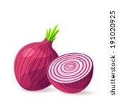 vector fresh red onion on white....   Shutterstock .eps vector #191020925
