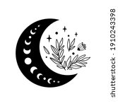 floral moon logo. moon phase...   Shutterstock .eps vector #1910243398