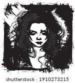 gothic girl   black and white... | Shutterstock .eps vector #1910273215