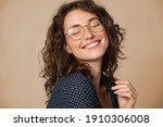 Casual cheerful woman with...
