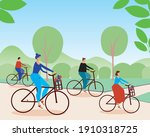 a group of cyclists together in ... | Shutterstock .eps vector #1910318725