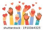 hands donate hearts. charity ... | Shutterstock . vector #1910364325