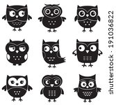 Stock vector owls isolated vector design elements 191036822