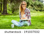 preparing to exams outdoors.... | Shutterstock . vector #191037032