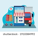 online shopping technology with ... | Shutterstock .eps vector #1910384992