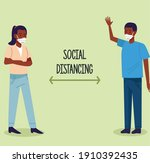 social distancing for covid19... | Shutterstock .eps vector #1910392435