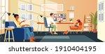 happy multi ethnic family... | Shutterstock .eps vector #1910404195