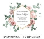 eucalyptus and pale roses ... | Shutterstock .eps vector #1910428135