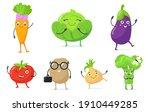 multicolor cute vegetable... | Shutterstock .eps vector #1910449285