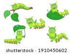 cartoon funny caterpillar set.... | Shutterstock .eps vector #1910450602