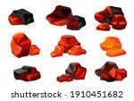red burning charcoal flat set...   Shutterstock .eps vector #1910451682