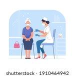 vaccination of the elderly.... | Shutterstock .eps vector #1910464942