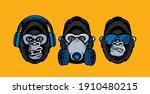 three wise gorillas with...   Shutterstock .eps vector #1910480215