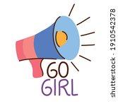 go girl lettering with... | Shutterstock .eps vector #1910542378